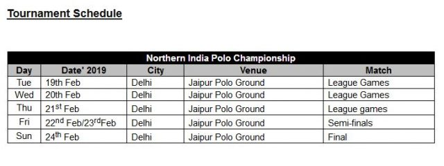 La Pegasus Polo Northern India Polo Championship 2019 Tournament Schedule