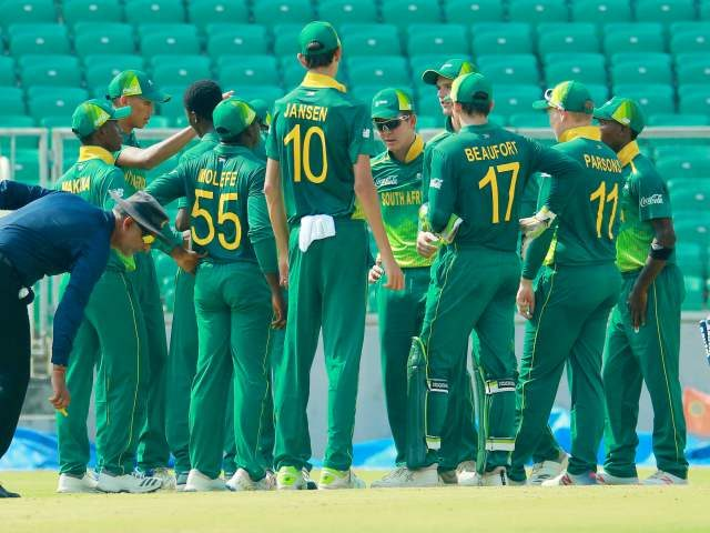 Proteas Team celebrating Indian Wicket. Harsh Dubey took 3 wickets in the match