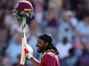 Chris Gayle- Cricket World Cup Trophy